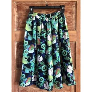 Cute Green Blue Fruit Print Full Skirt Size Small